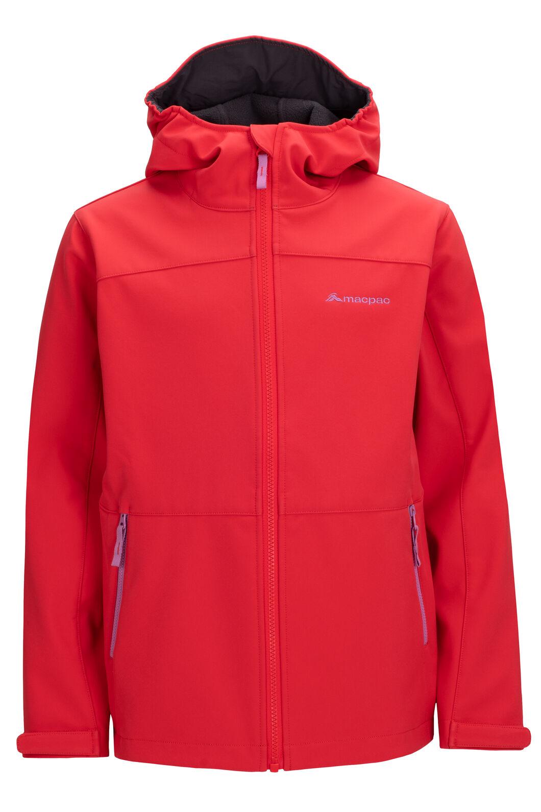 Macpac Kids' Sabre Hooded Softshell Jacket, Hibiscus, hi-res