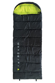 Wanderer Singe Hooded Sleeping Bag, Black/Lime, hi-res