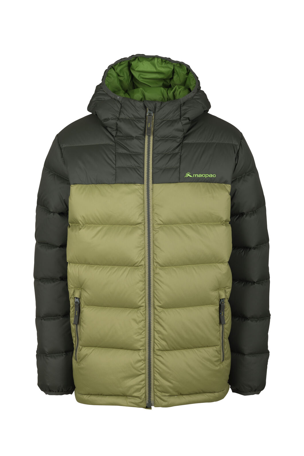 Macpac Atom Hooded Down Jacket - Kids', Loden/Kombu, hi-res