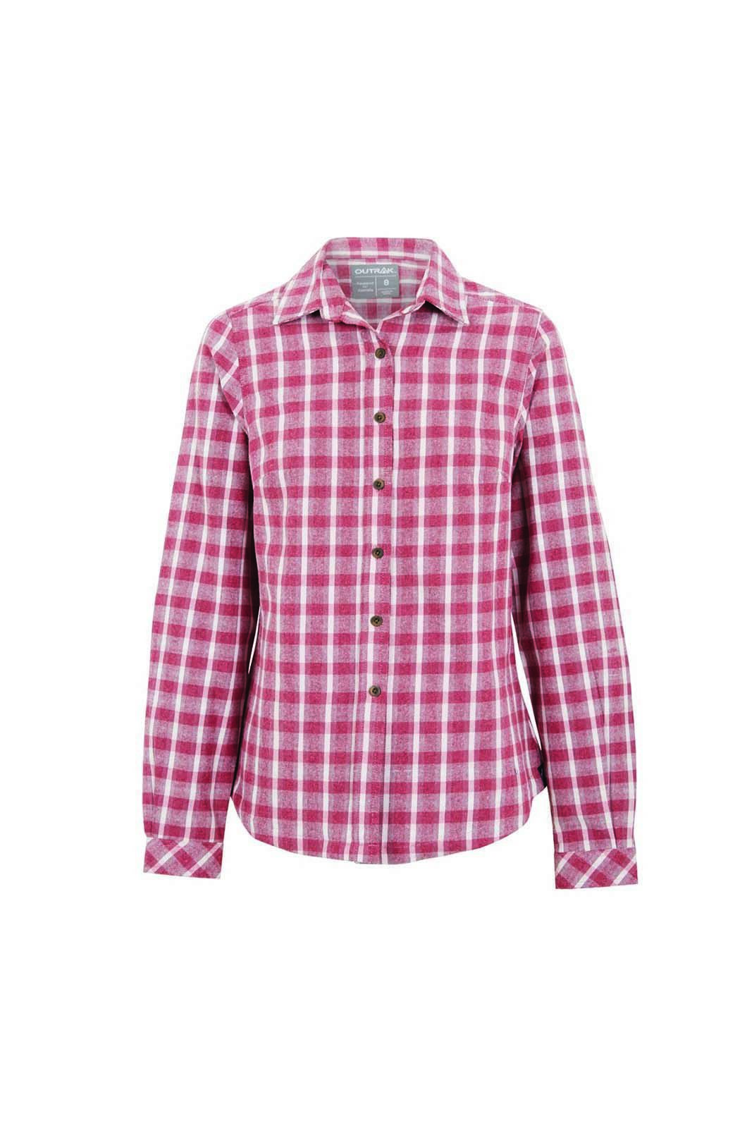 Outrak Women's Flannel Long Sleeve Shirt Wine Check, WINE CHECK, hi-res