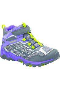Merrell Kids' Moab FST Mid WP Hiking Boots, GREY/PURPLE, hi-res