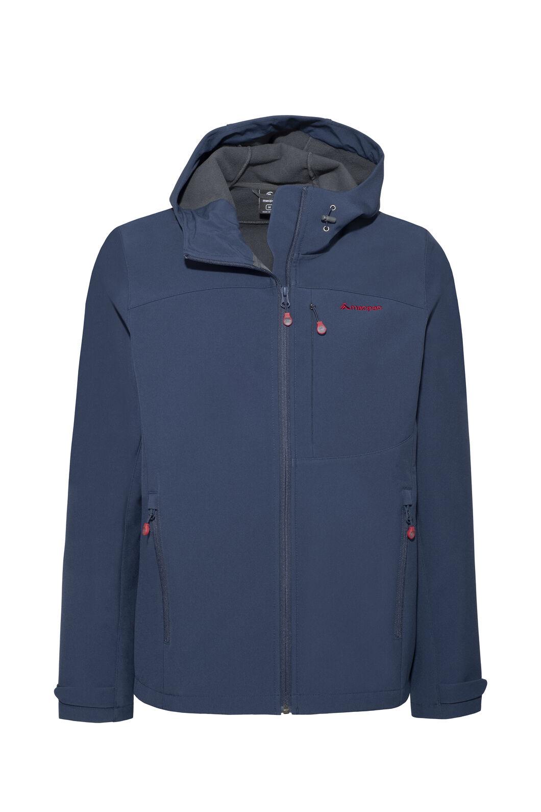 Macpac Sabre Hooded Softshell Jacket — Men's, Black Iris/Rio Red, hi-res