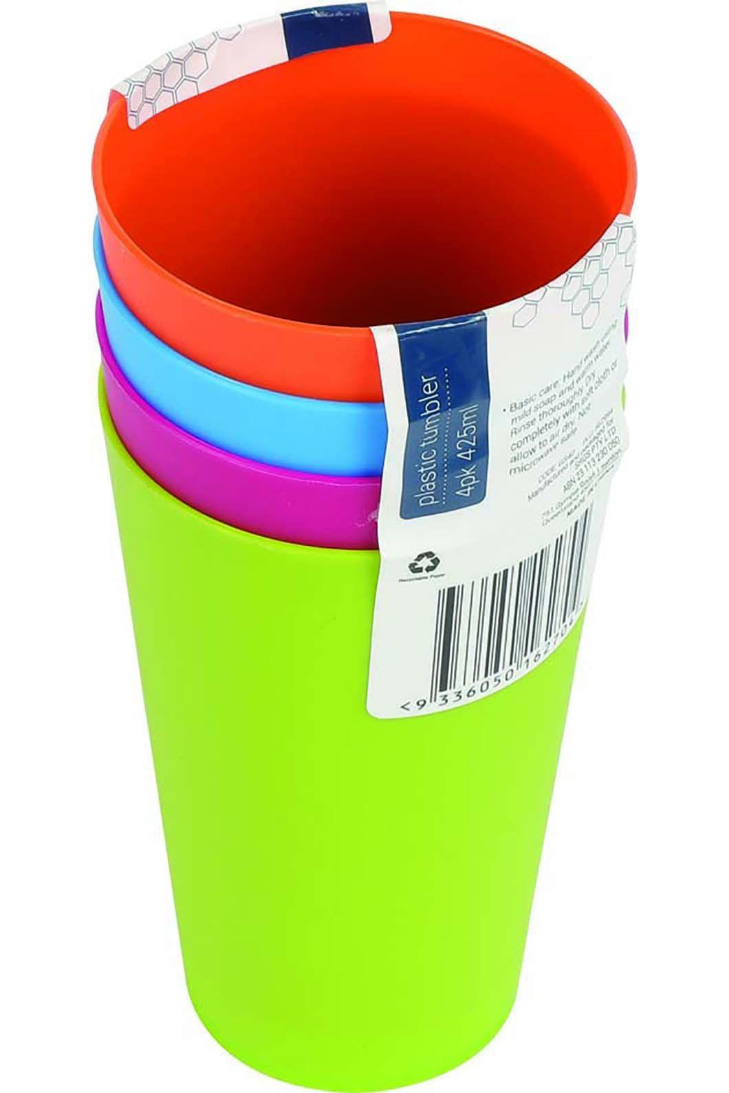 Plastic Tumblers 4 Pack, None, hi-res