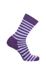 Macpac Merino Blend Footprint Socks, Blackberry Wine Stripe, hi-res