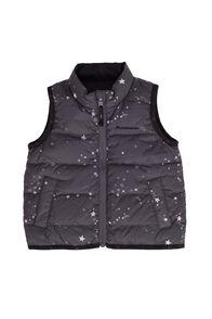 Macpac Baby Atom Down Vest, Black/Grey Print, hi-res