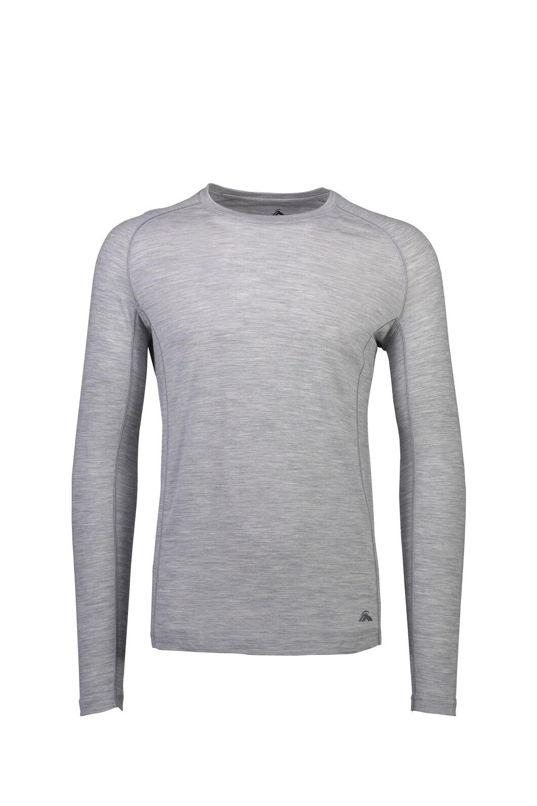 Macpac 150 Merino Long Sleeve Top — Men's, Light Grey Marle, hi-res