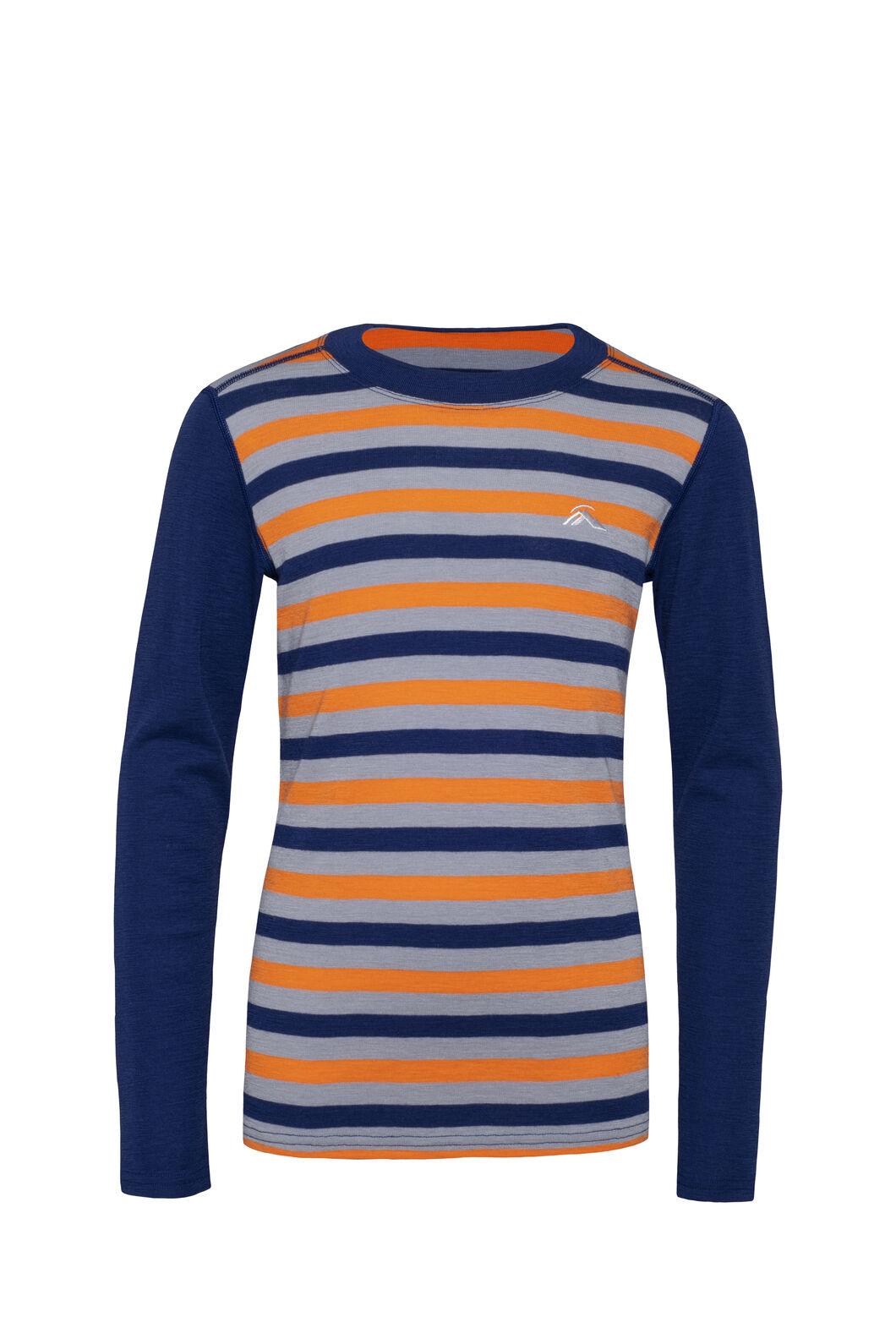 Macpac 220 Merino Long Sleeve Top — Kids', Blueprint Stripe, hi-res