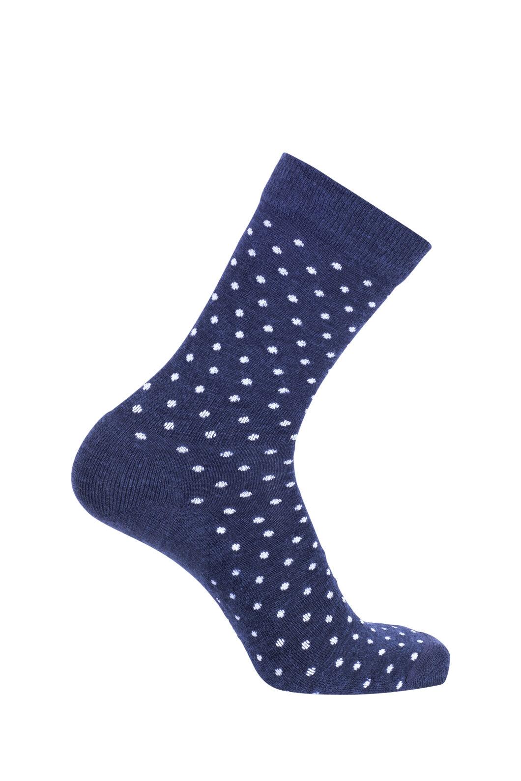 Macpac Merino Blend Footprint Socks, Black Iris Polka, hi-res