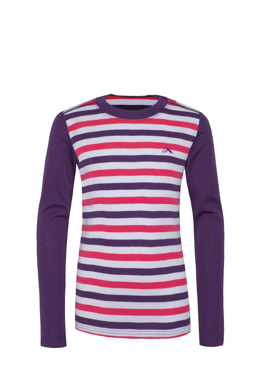 Macpac 220 Merino Long Sleeve Top — Kids', Wineberry Stripe, hi-res