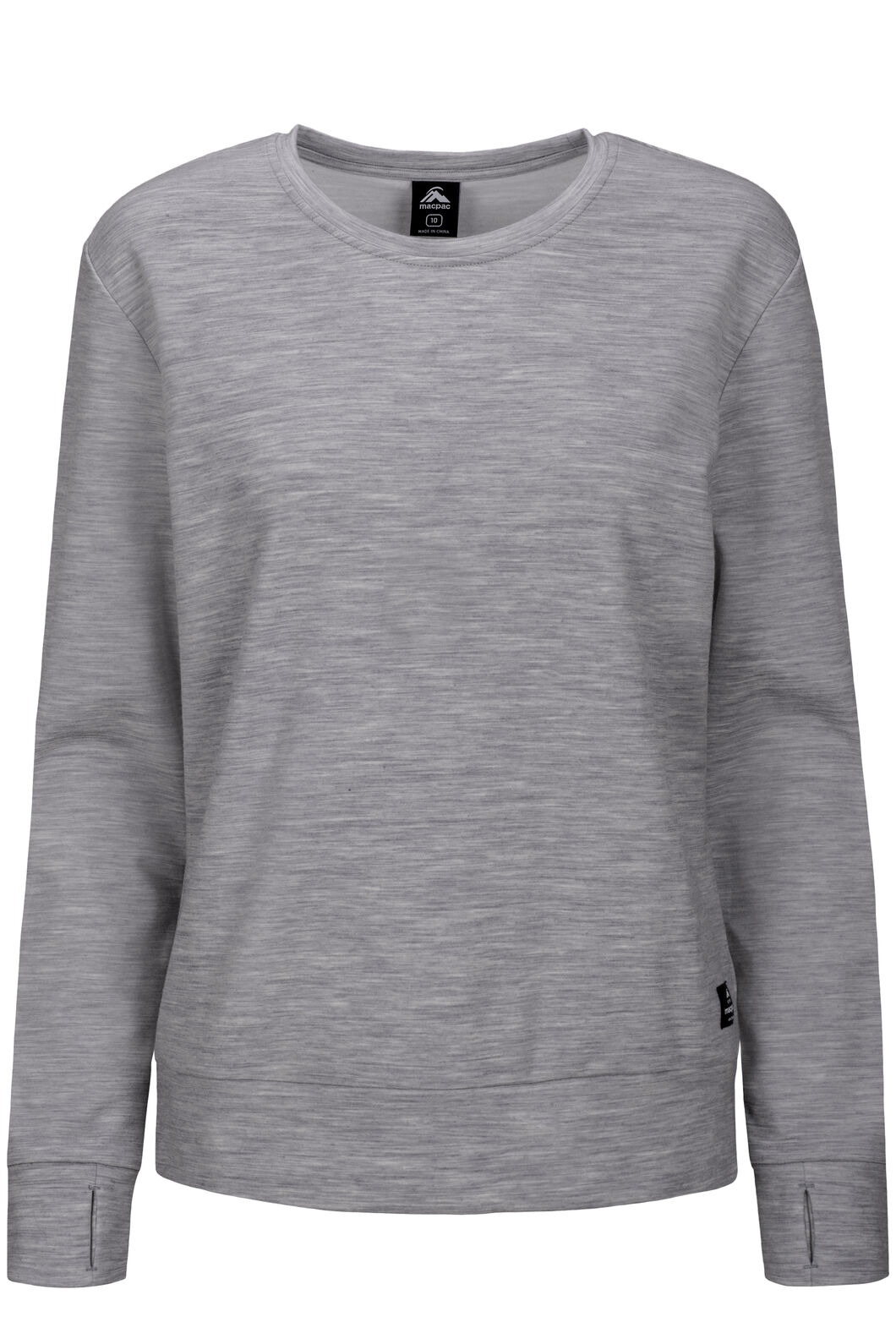 Macpac 280 Merino Long Sleeve Crew — Women's, Light Grey Marle, hi-res