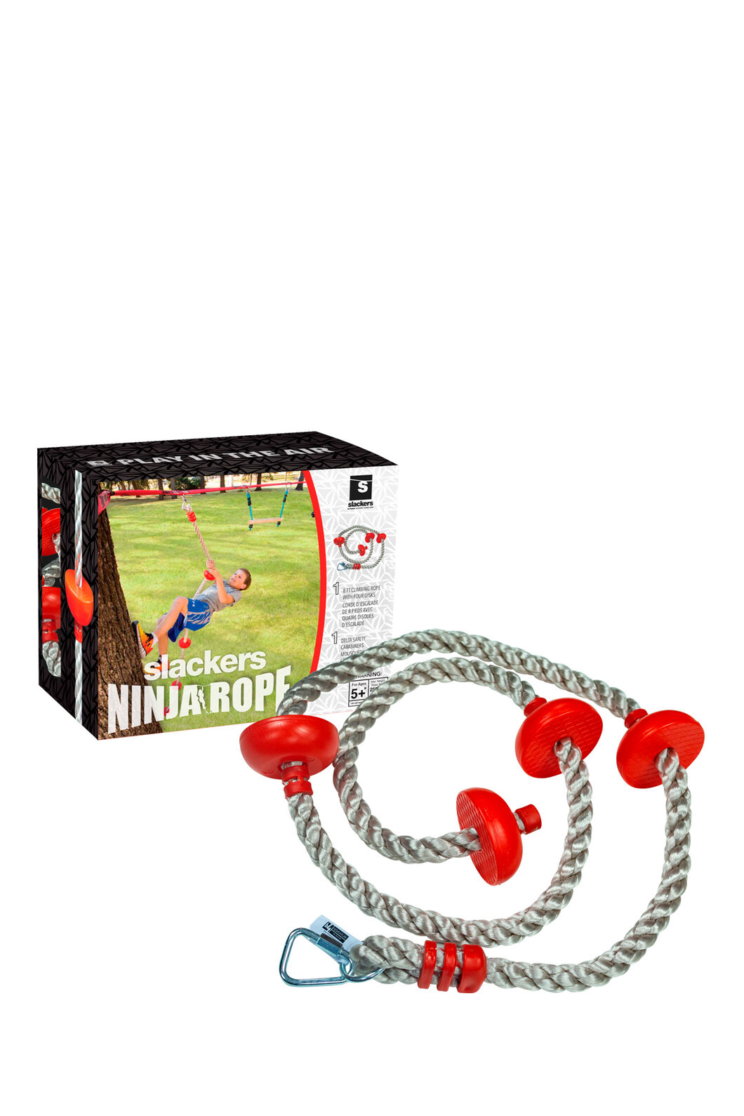 Slackers 8' Ninja Climb Rope with Foot Holds, None, hi-res