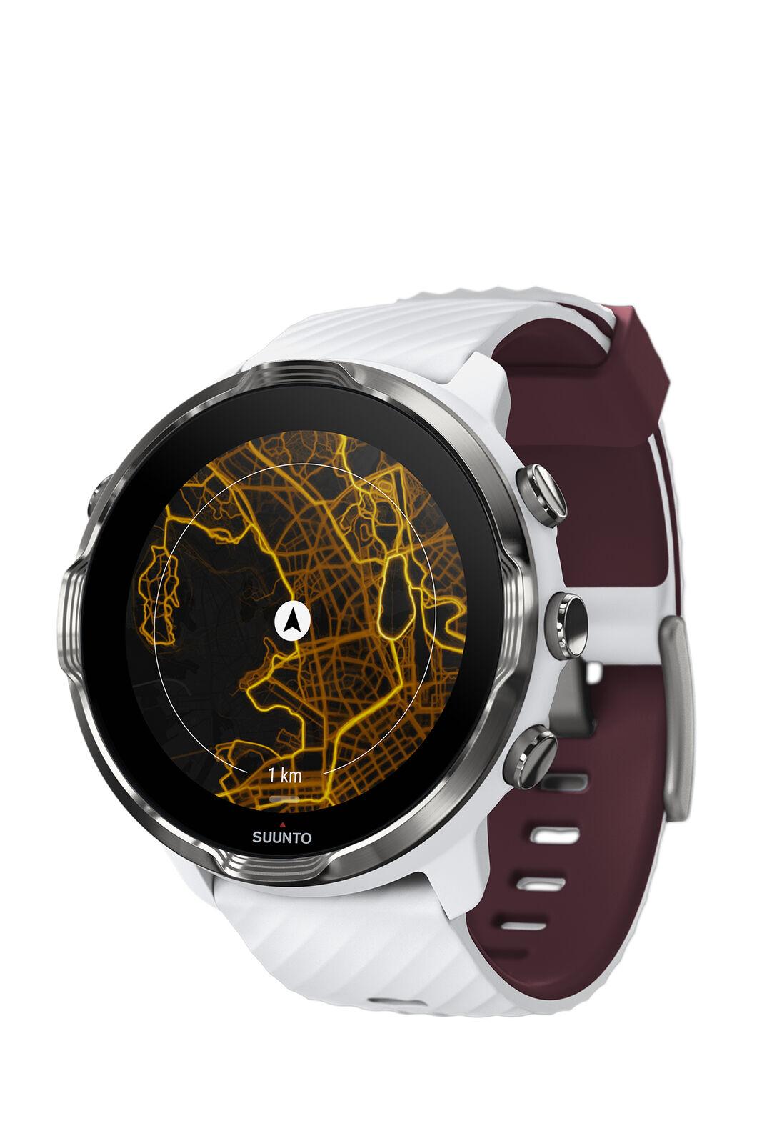 Suunto 7 GPS Smartwatch, White/Burgundy, hi-res