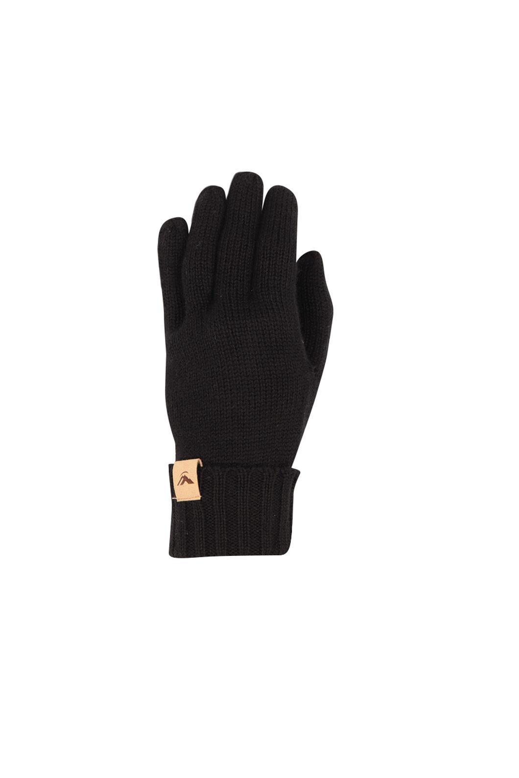 Macpac Merino Gloves, Black, hi-res