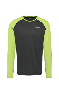 Macpac Eyre Long Sleeve Tee - Men's, Phantom/Macaw Green, hi-res