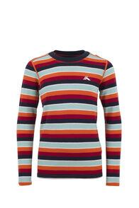 Macpac 220 Merino Long Sleeve Top — Kids', Orange Stripe, hi-res