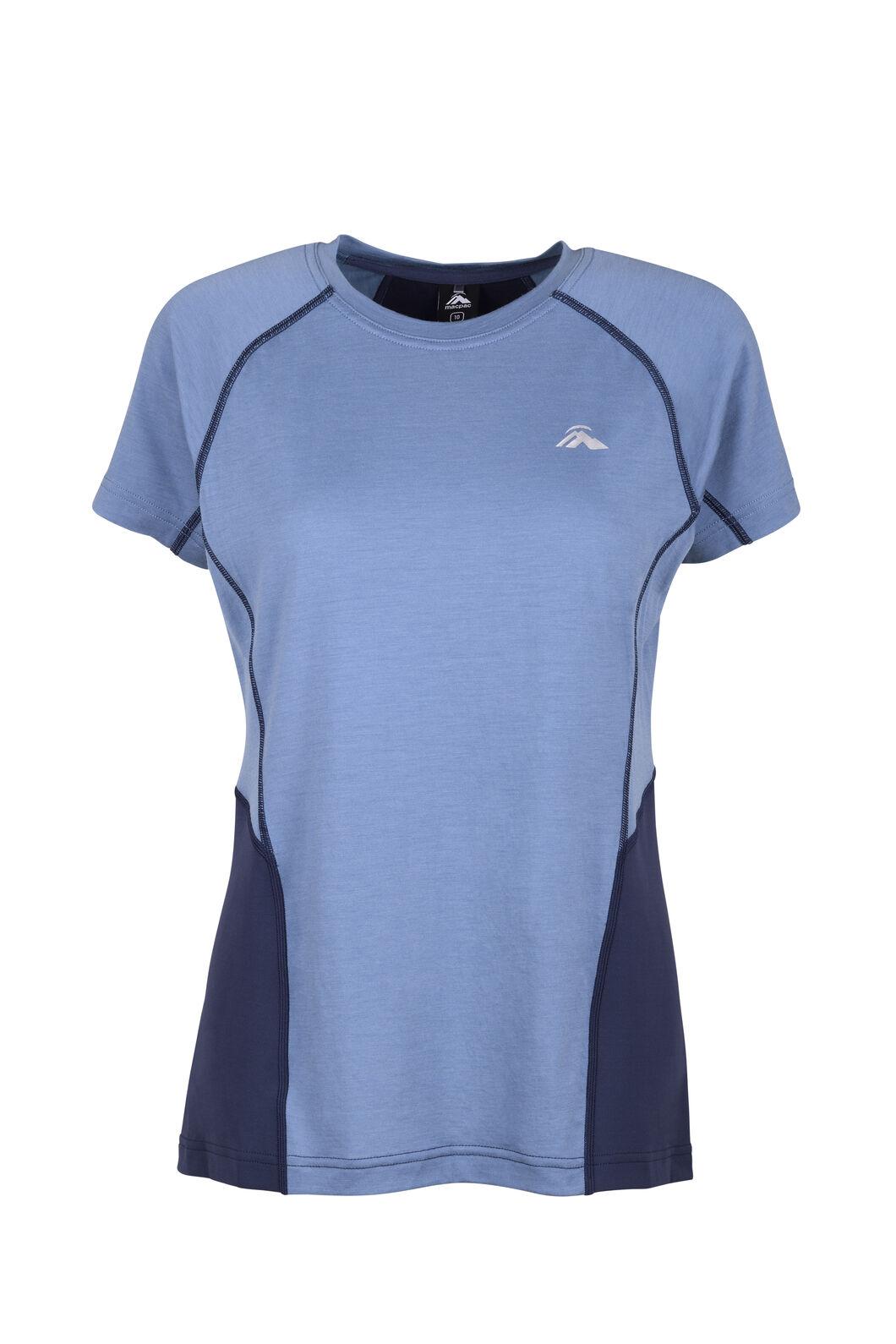 Macpac Casswell Short Sleeve Crew — Women's, China Blue/Mood Indigo, hi-res