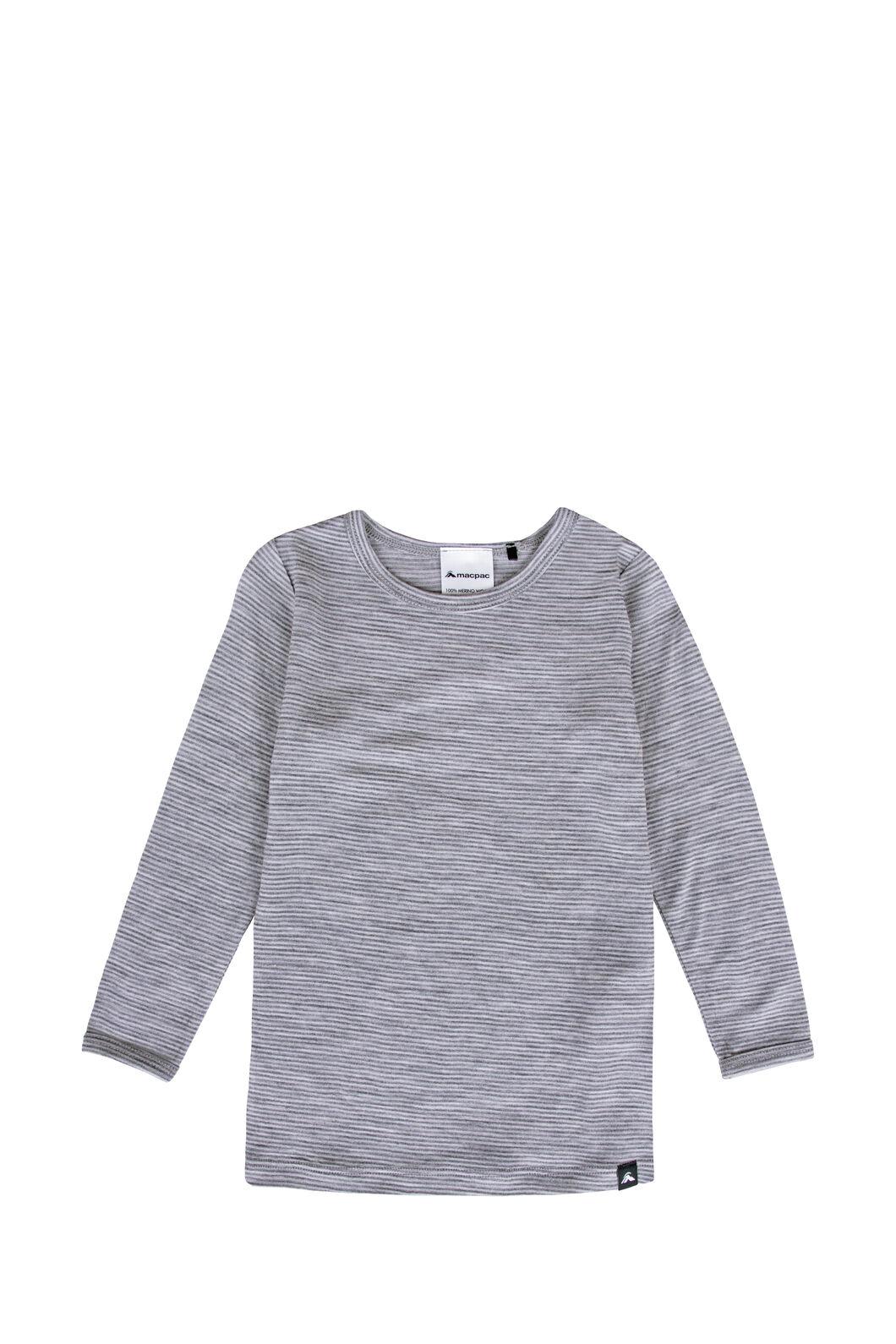 Macpac Baby 150 Merino Long Sleeve Top, Light Grey Stripe, hi-res