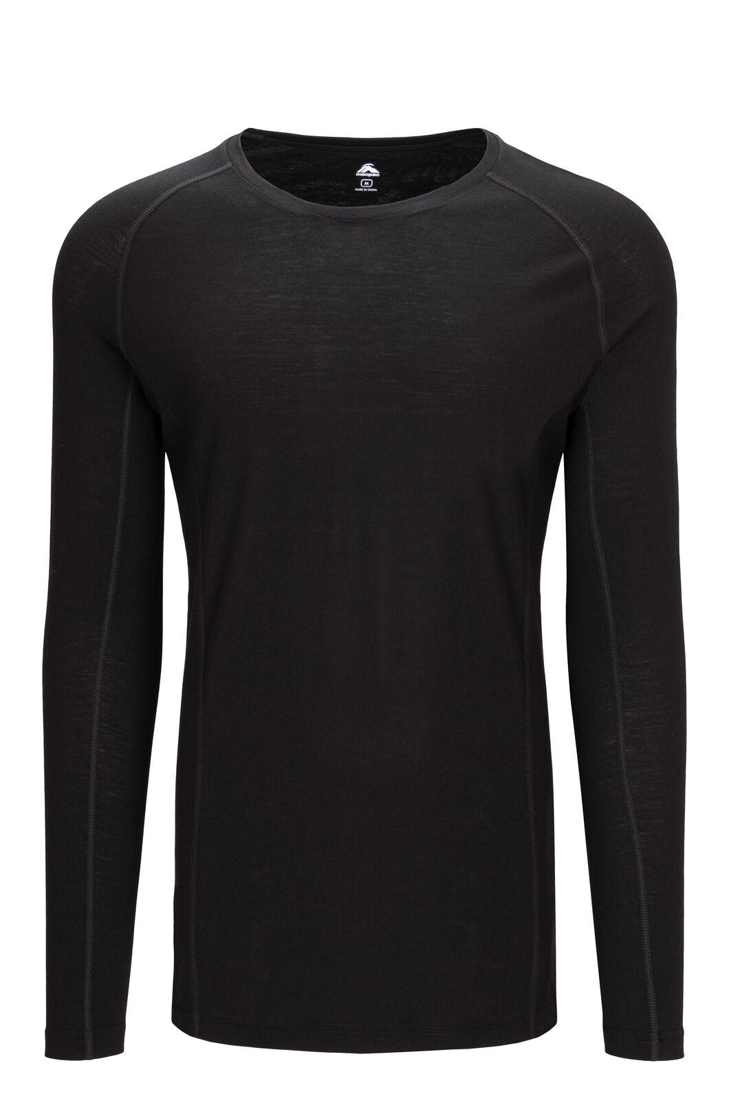 Macpac Men's 150 Merino Long Sleeve Top, Black, hi-res