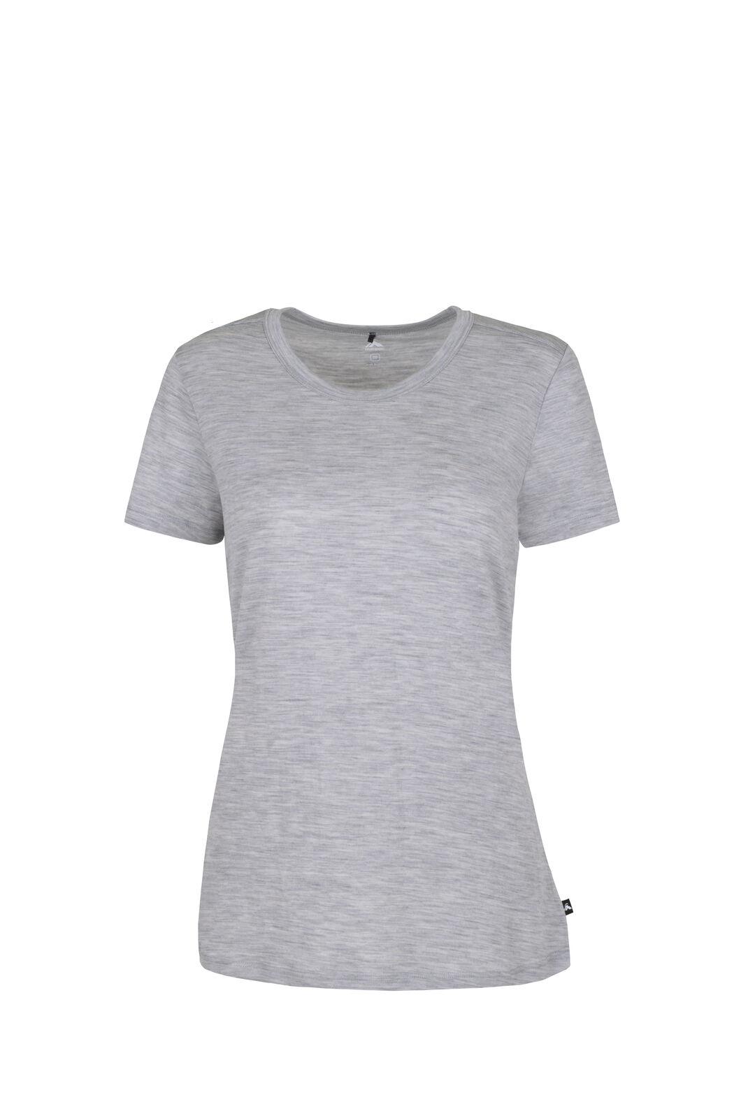 Macpac Lyellette 180 Merino Short Sleeve Crew - Women's, Grey Marle, hi-res