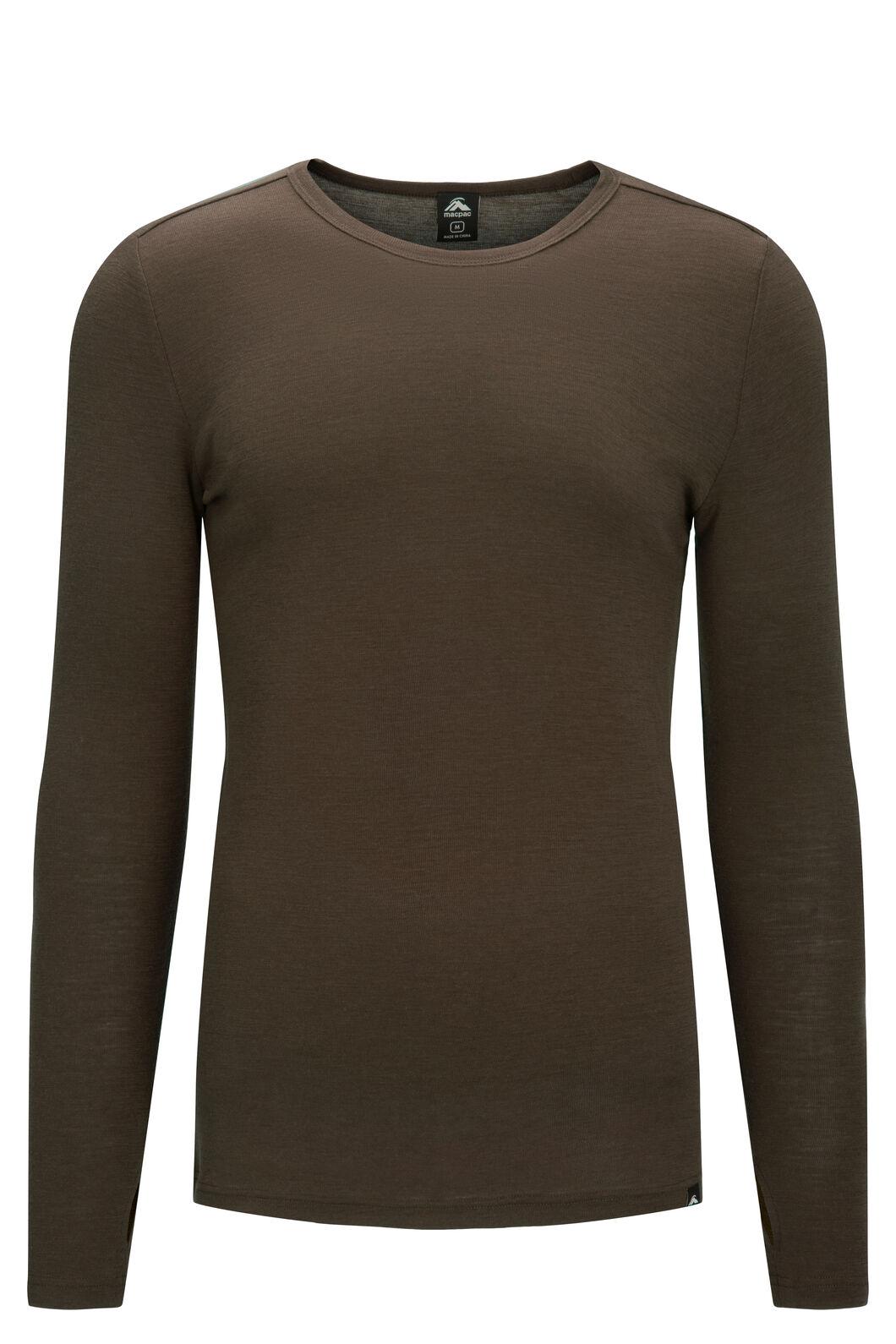 Macpac Men's 220 Merino Long Sleeve Top, Olive Night, hi-res