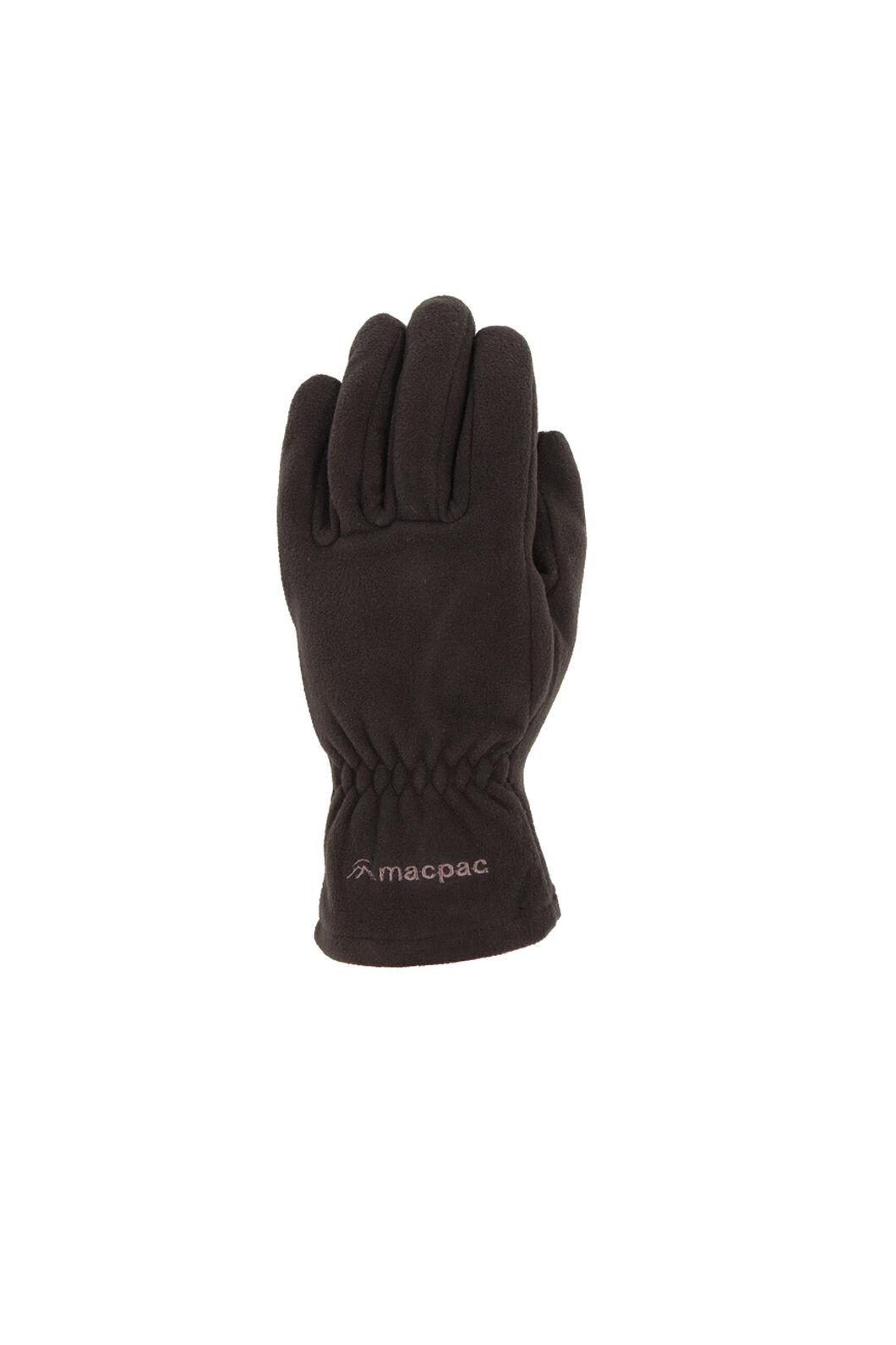 Macpac Tech Fleece Gloves, Black, hi-res