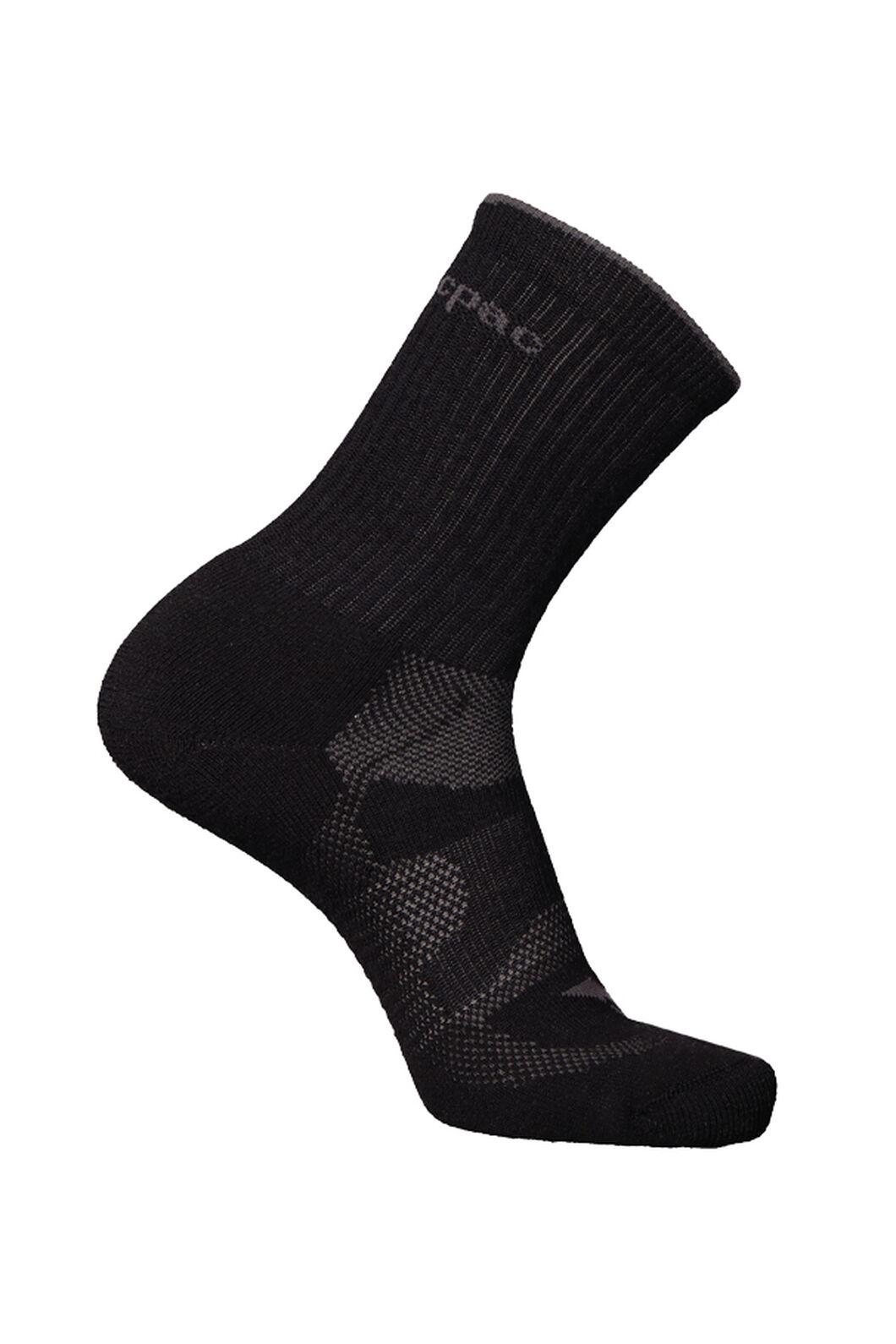 Macpac Merino Crew Socks, Black, hi-res