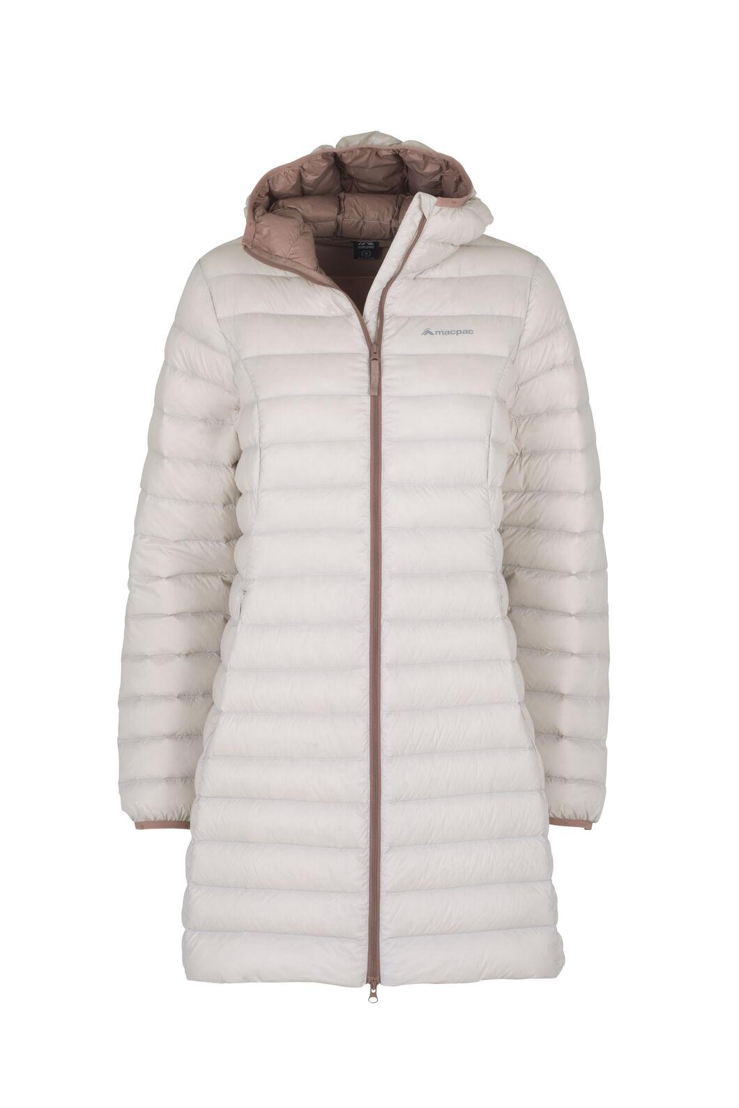 Macpac Uber Light Hooded Down Coat — Women's, Grey Morn/Burlwood, hi-res