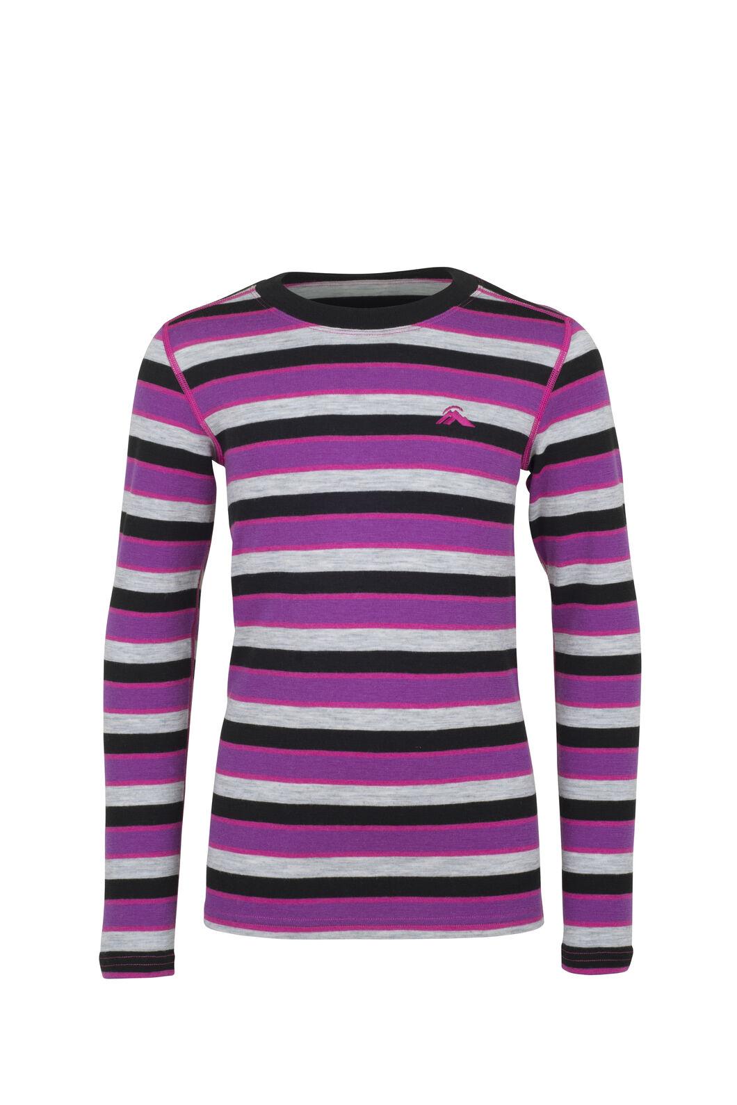 Macpac 220 Merino Long Sleeve Top — Kids', Purple Stripe, hi-res