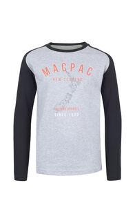 Macpac Outdoor Fairtrade Organic Cotton Long Sleeve Tee — Kids', Grey Marle, hi-res
