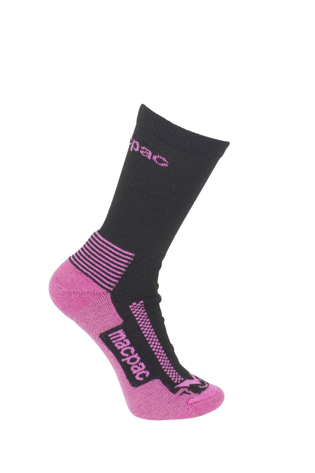 Macpac Trekking Socks - Kids', Black/Pink, hi-res