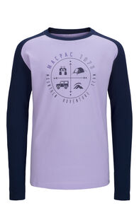 Macpac Compass Fairtrade Organic Cotton Long Sleeve Tee — Kids', Lavender/Black Iris, hi-res