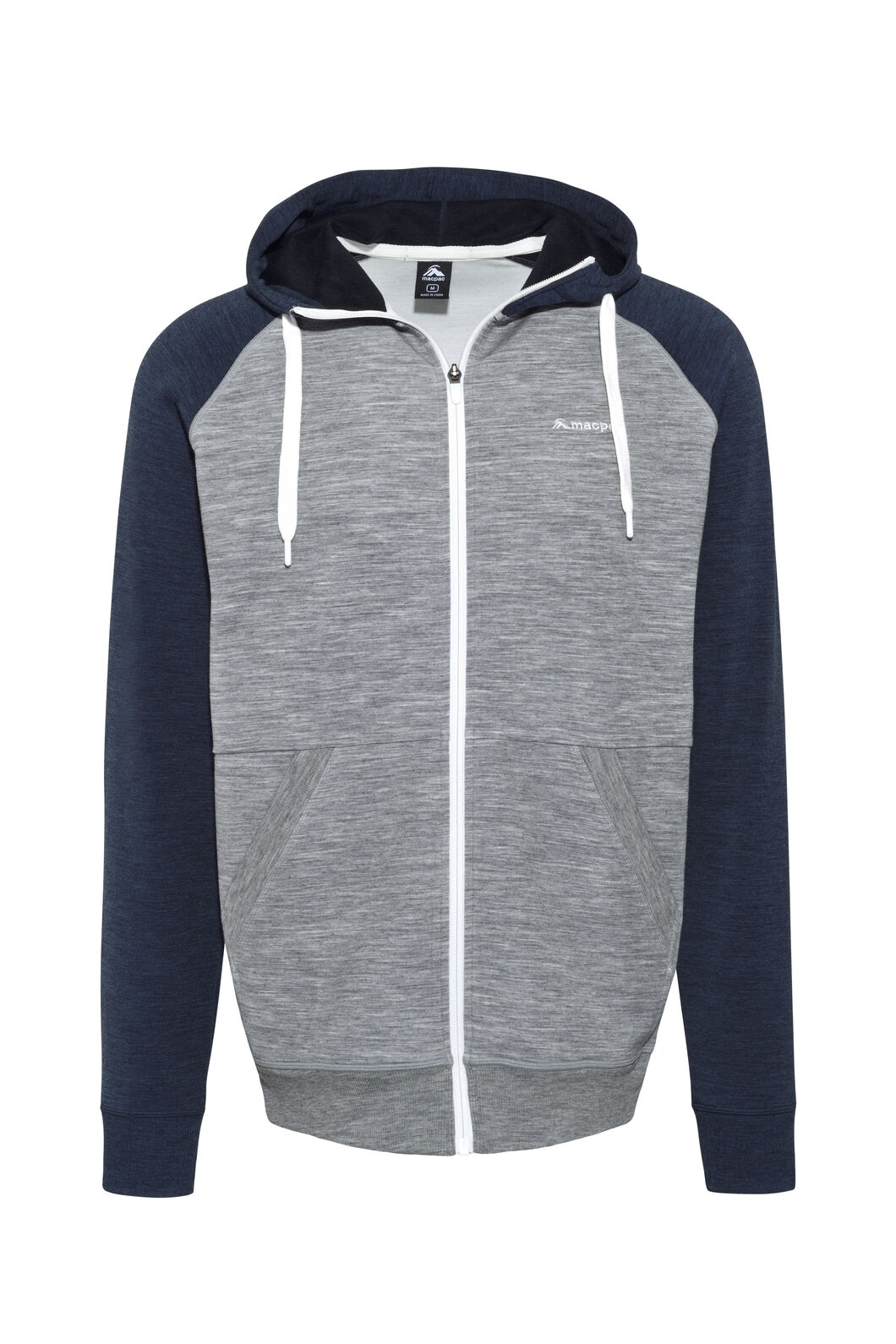 Macpac Escape Merino Hoody - Men's, Black Iris/Grey Marle, hi-res