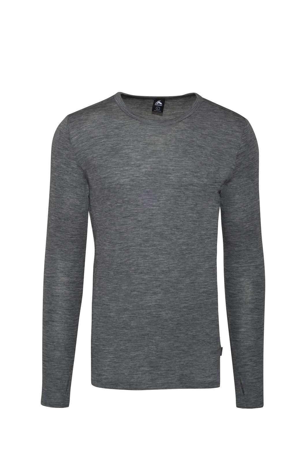 Macpac 220 Merino Long Sleeve Top - Men's, Mid Grey Marle, hi-res