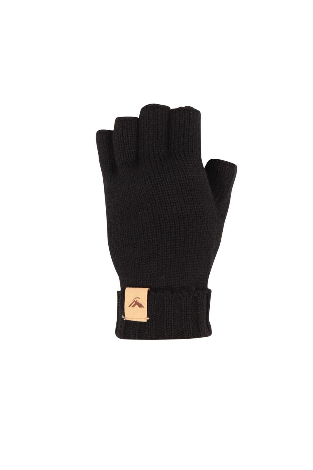 Macpac Merino Fingerless Gloves, Black, hi-res