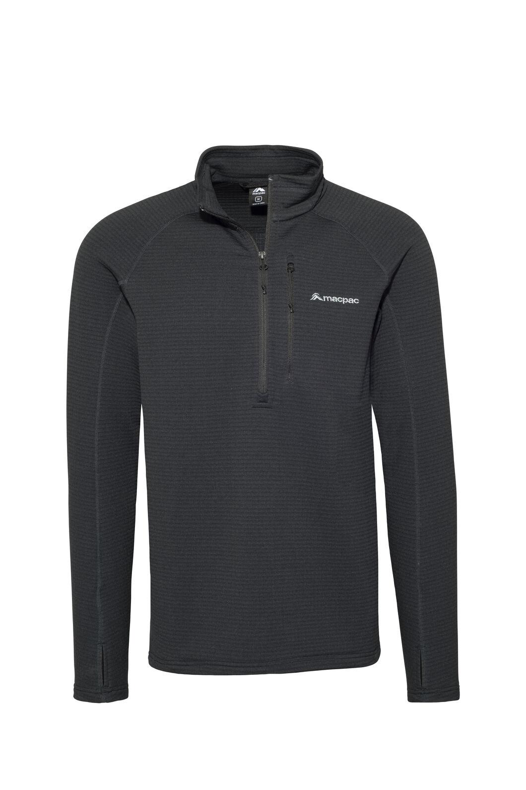 Macpac Ion Polartec® Fleece Half Zip Pullover — Men's, Black, hi-res
