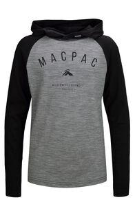 Macpac Merino 180 Long Sleeve Hoody - Kids', Black/Grey Marle, hi-res