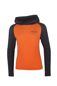 Macpac Merino 180 Long Sleeve Hoody - Kids', Puffins Bill/Charcoal Marle, hi-res