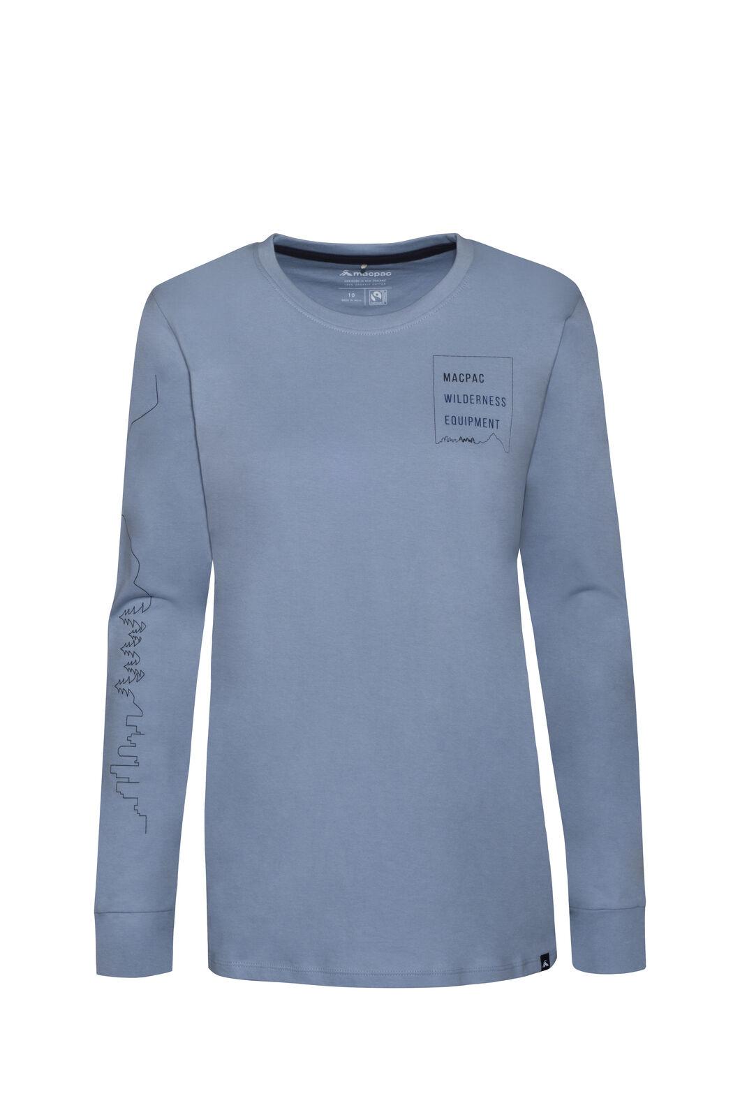 Macpac Wilderness Equipment Fairtrade Organic Cotton Long Sleeve Tee — Women's, Blue Fog, hi-res