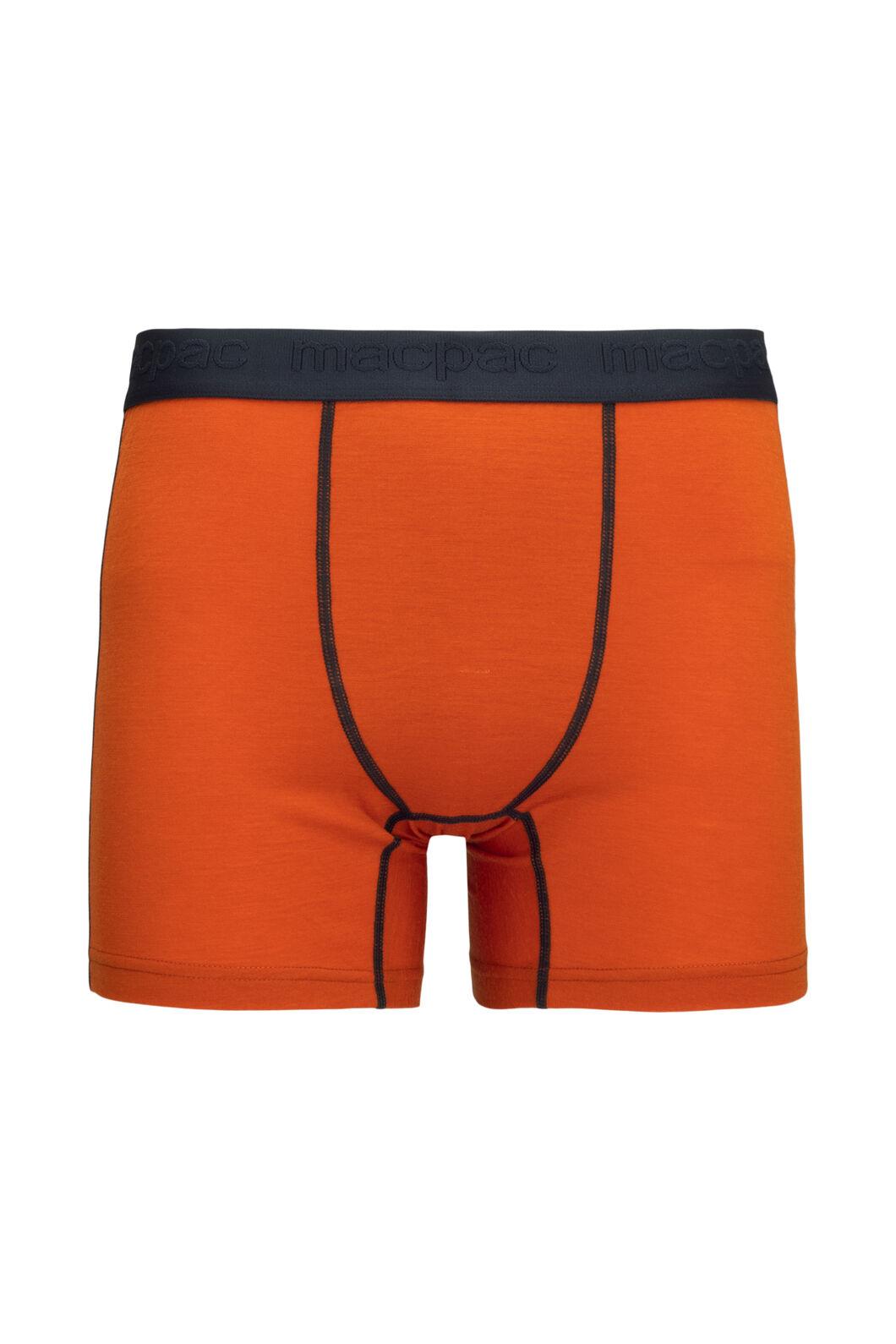 Macpac Men's 180 Merino Boxers, Orange Flame, hi-res