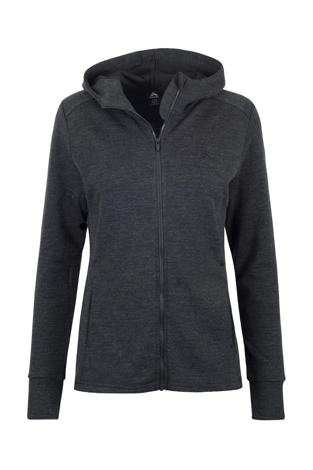 Macpac Ohau 320 Merino Hooded Jacket — Women's, Charcoal Marle, hi-res