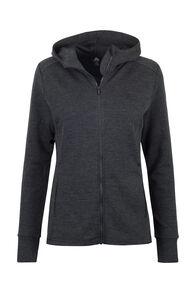 Macpac Women's Ohau 320 Merino Hooded Jacket, Charcoal Marle, hi-res