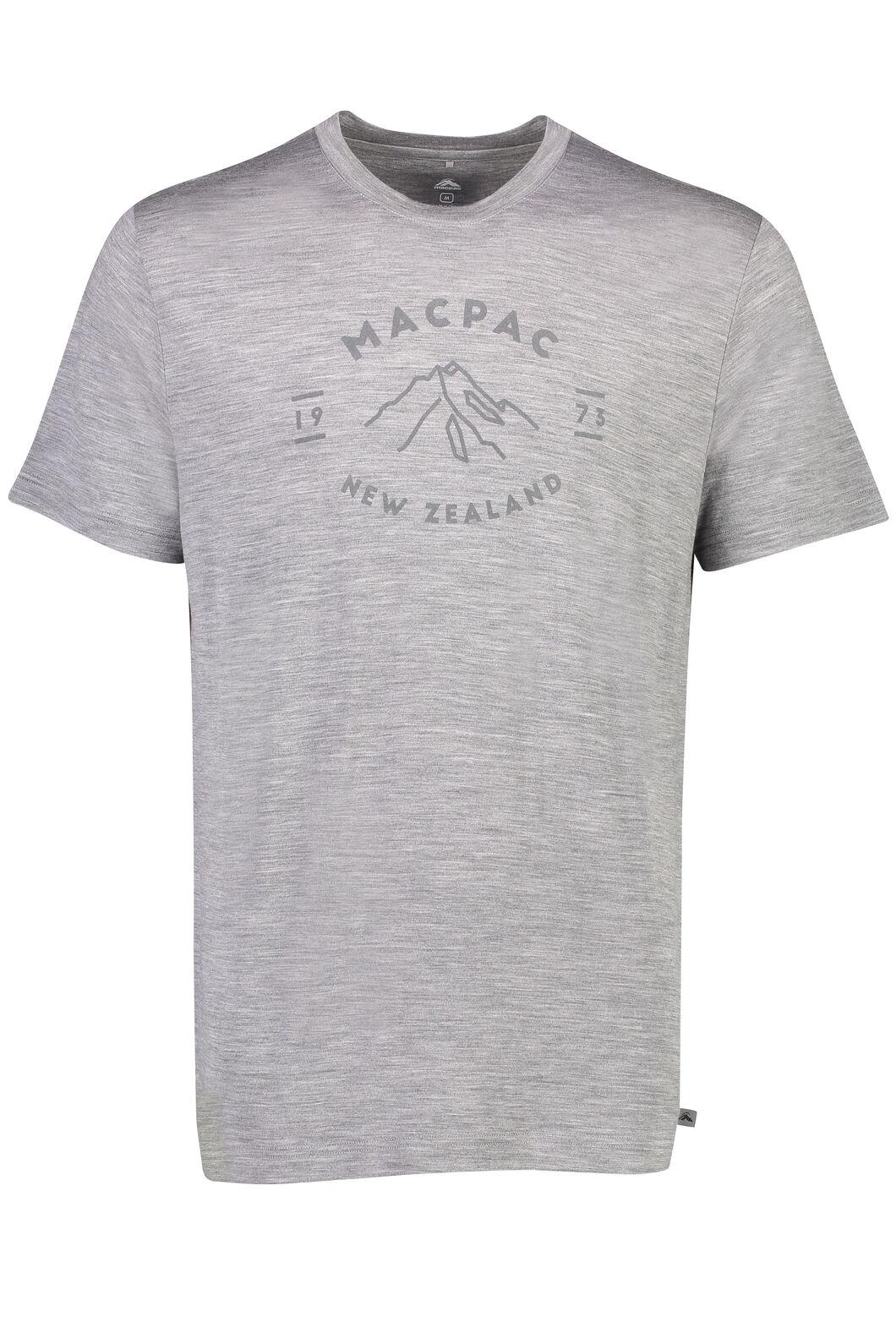 Macpac Mountain  Merino 180 Tee - Men's, Mid Grey Marle, hi-res