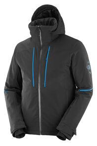 Salomon Men's Edge Insulated Ski Jacket, Black/Indigo Bunting, hi-res