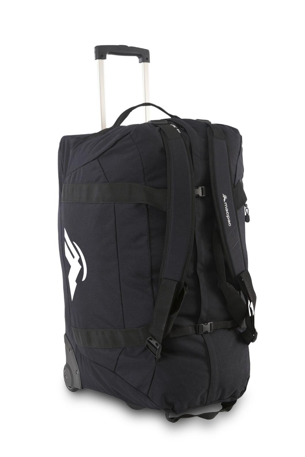 Macpac 120L Wheeled Duffel Bag, Black, hi-res