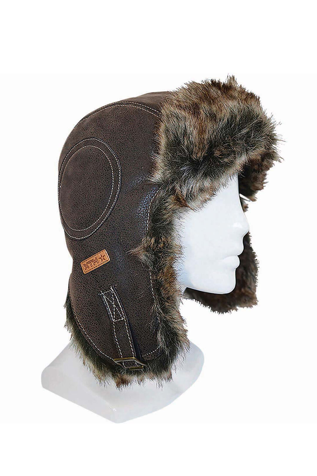 XTM Leather (faux) Bomber Hat, Chocolate, hi-res