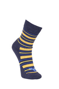 Macpac Footprint Socks Kids', Black Iris/Super Lemon, hi-res