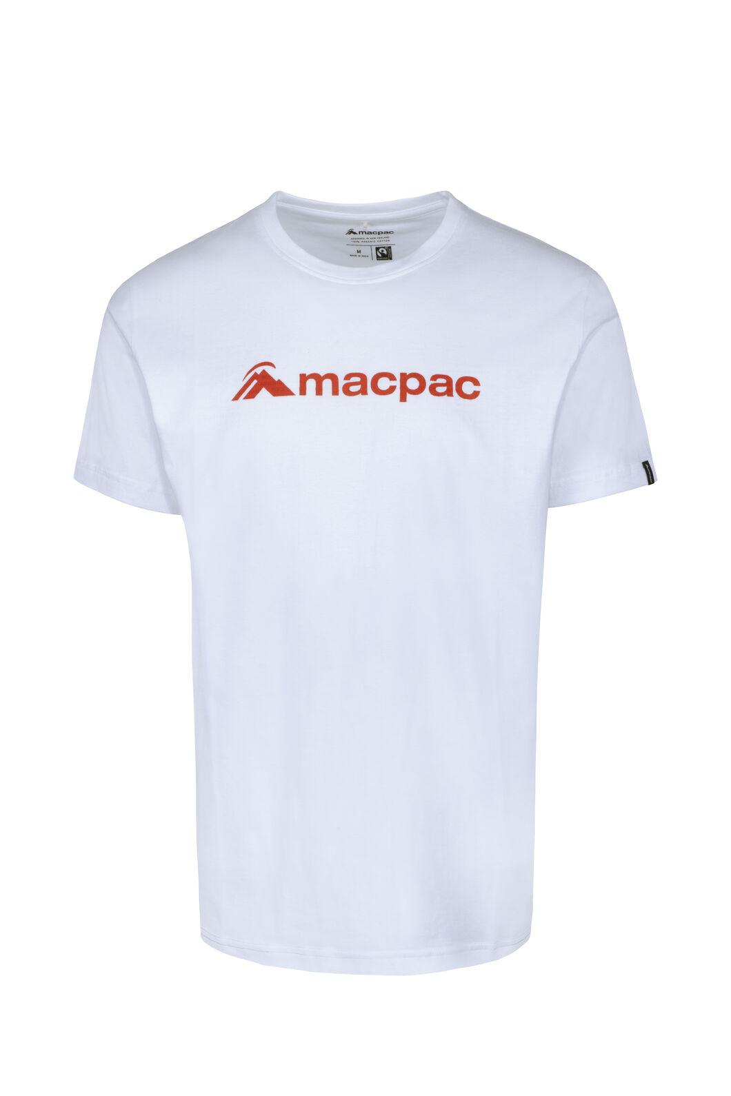Macpac Logo Fairtrade Organic Cotton Tee — Men's, White, hi-res