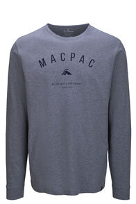 Macpac Graphic Fairtrade Organic Cotton Long Sleeve Tee — Men's, Grey Marle, hi-res