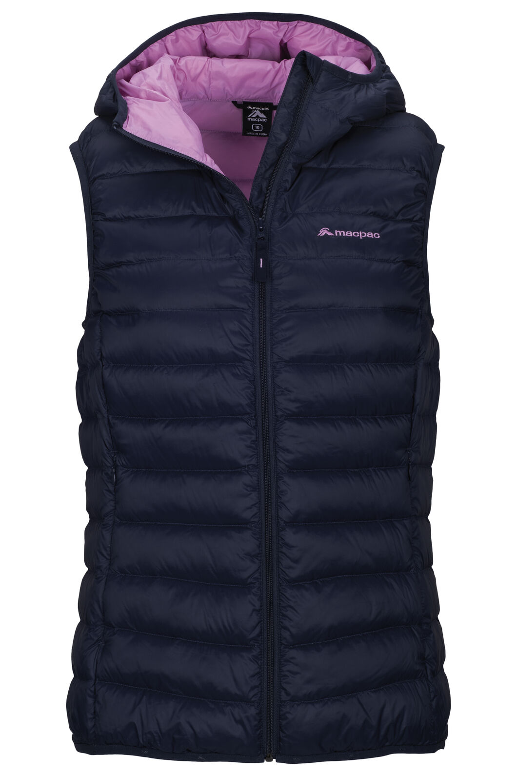 Macpac Uber Light Hooded Down Vest — Women's, Total Eclipse, hi-res
