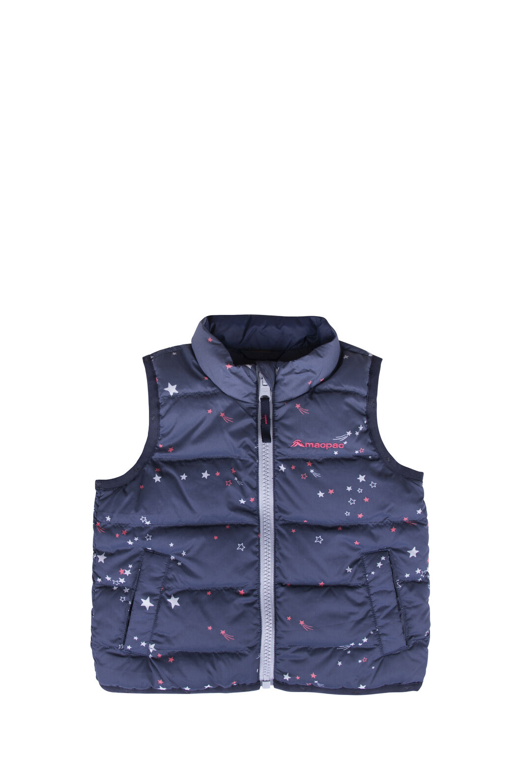 Macpac Atom Down Vest — Baby, Black Iris Print, hi-res